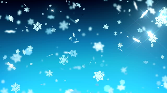 big snowflakes falling with sparks and flares in night sky. winter snowfall. merry christmas and happy new year concept. looped 3d animation. - snowflake background stock videos & royalty-free footage