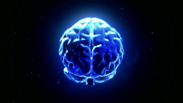 Big strong brain pulsing in blue video