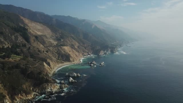 Big Sur California Coastline United States - Drone stunning 4K High Definition (HD) Aerial View