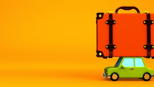 big reisen gepäck und auto auf gelber text platz - drive illustration stock-videos und b-roll-filmmaterial