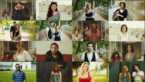 vídeos y material grabado en eventos de stock de gran composición de retrato de vídeo: personas de pie y mirando a la cámara - corte transversal