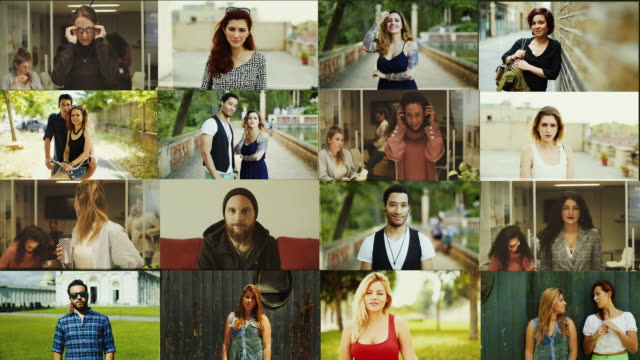 Big video portrait composition: people standing up and looking at camera Big video portrait composition: people standing up and looking at camera multiple image stock videos & royalty-free footage