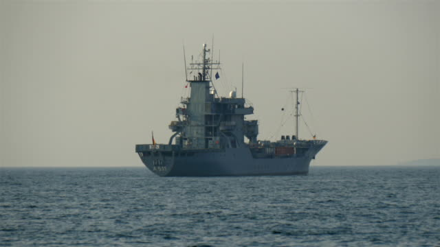 A big warship in the middle of the ocean GH4 4K UHD video