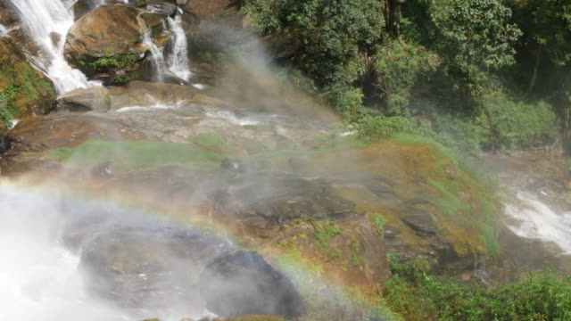 Big Waterfall with rainbow in the nature, 4K