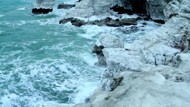 Big wave smash on icy rock video