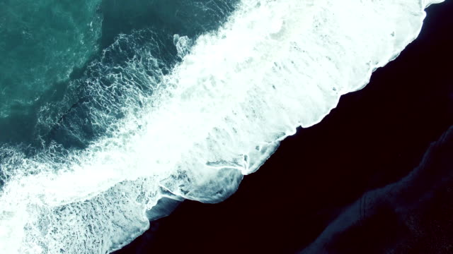 Big waves on black sand beach video