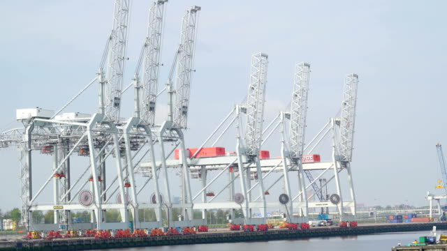 Big white cranes fronting the port where lots of cargoes are video