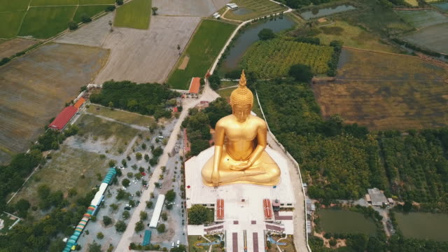 Bigest buddha image with green rice paddy at Angthong province