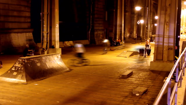 Bike Park Time Lapse Time lapse of a group of guys riding in an urban skatepark in New York at night young singles stock videos & royalty-free footage