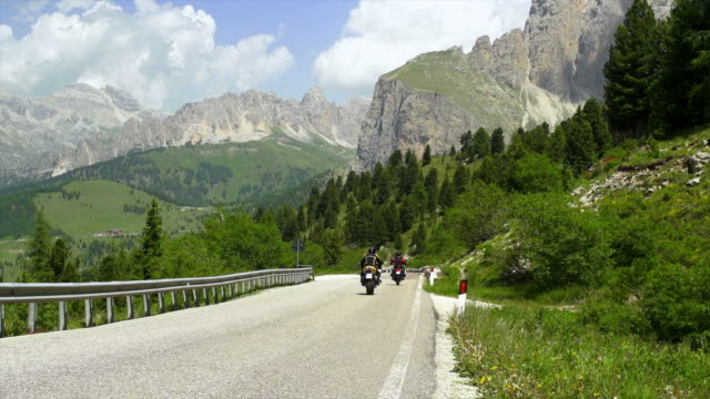 Bikers On Sella Ronda In The Dolomites Mountains video
