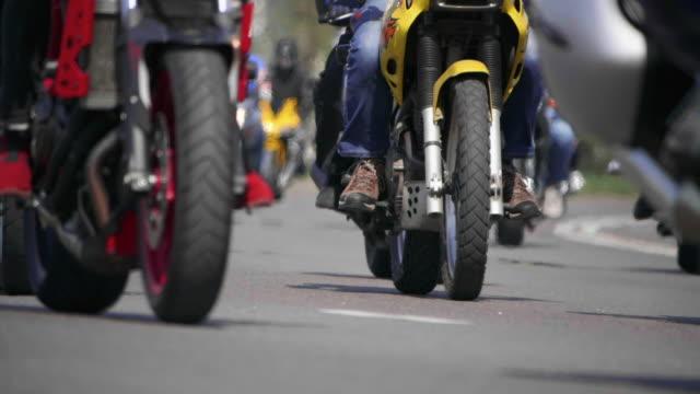 HD - Bikers slow-mo. Bottom view