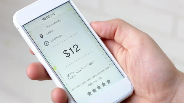 Bill for taxi ride on a smarthpne application rating five stars video