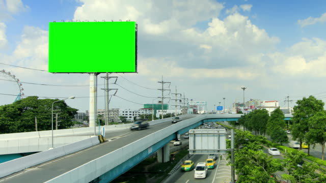 billboard and highway with moving cloud ,time lapse - road signs stock videos and b-roll footage