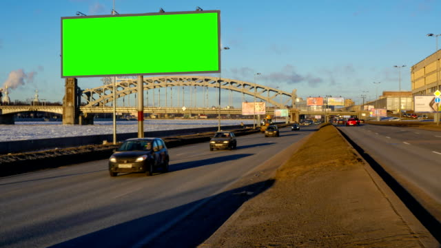 Billboard green screen chromakey near the winter highway video