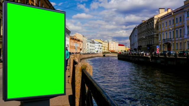 Billboard green screen in St. Petersburg. timelapse video