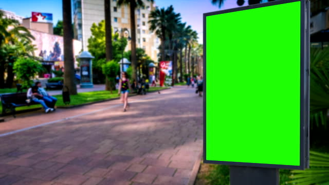 Billboard green screen on the background of city street video