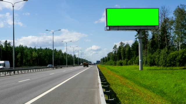 Billboard green screen on the highway video