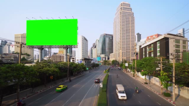 Billboard green screen with city traffic background. Bangkok thailand. 4K Resolution. video