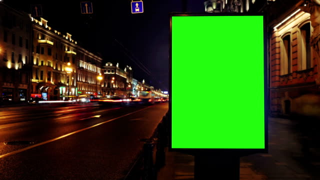 A Billboard with a Green Screen/Time Lapse