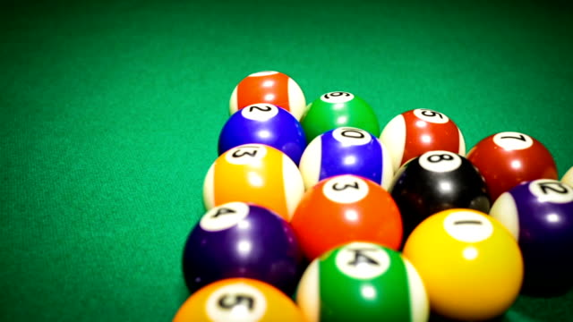 Billiard balls on green baize video