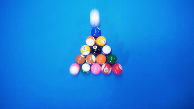 Billiard balls slow motion