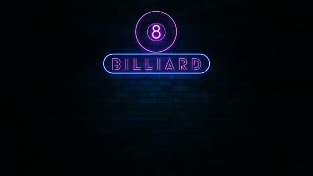 Billiard Neon Light Sign video