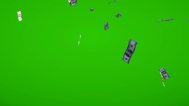 Bills falling downward green screen animation