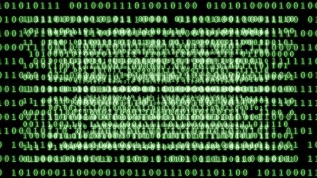 Binary code background loop. video
