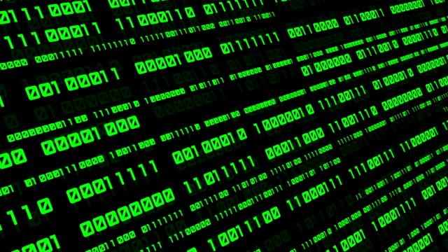 vídeos de stock e filmes b-roll de binary code black and green animation - bit código binário