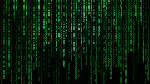 Binary code black and green background with digits moving on screen, Concept of digital age. Algorithm binary, data code, decryption and encoding, row matrix background. video