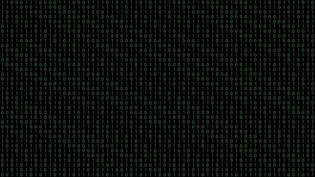 vídeos de stock e filmes b-roll de binary code black background with green digits moving on screen - bit código binário