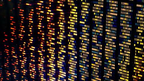 modifiche al codice binario sullo schermo del computer, sfondo di hacking, linguaggio di programmazione - dati video stock e b–roll