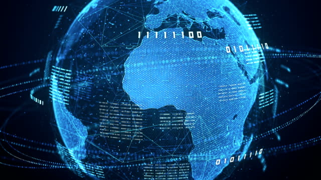 binary code globe (blue) - loop - binary code stock videos & royalty-free footage