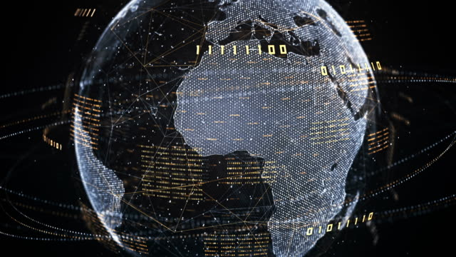 Binary Code Globe (Gold, Silver) - Loop Highly detailed abstract globe made of binary numbers. Perfectly usable to illustrate topics like artificial intelligence, global business and technology, the internet of things or big data. california map stock videos & royalty-free footage