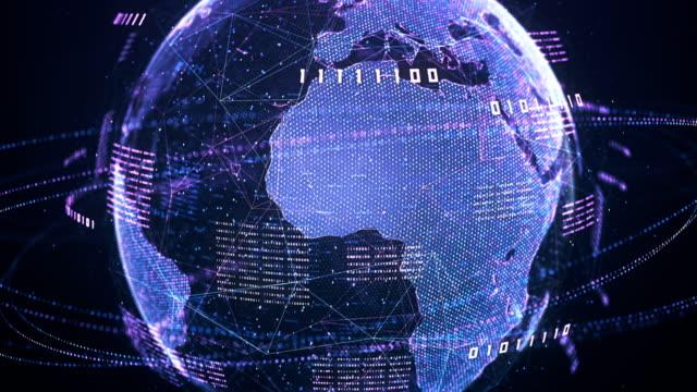 binär kod globe (lila) - loop - på gränsen bildbanksvideor och videomaterial från bakom kulisserna