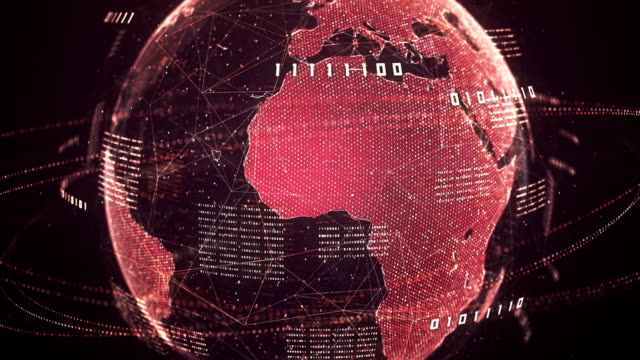 binary code globe (red) - loop - minacce video stock e b–roll