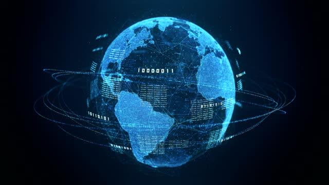 binär kod globe (blå) - loopable efter sex sekunder - på gränsen bildbanksvideor och videomaterial från bakom kulisserna