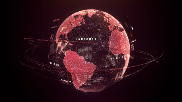 binary code globe (rosso) - loopable after six seconds - minacce video stock e b–roll