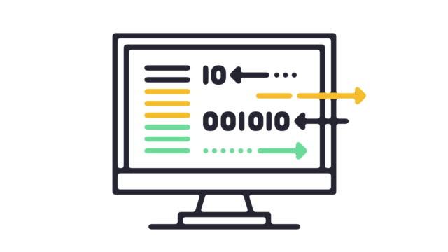 Binary Code Line Icon Animation