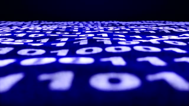 Binary Code Numbers, Rendering, Animation Background, Loop video