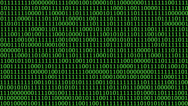 Binary computer code animation ones and zeros flashing on screen video