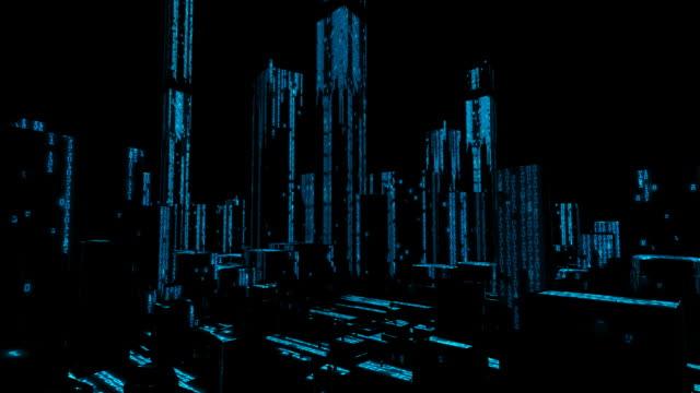 Binary Computer Data City Skyline video