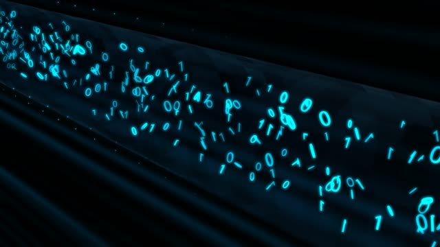 Binary Data Flows in Encrypted VPN Network Tunnel Information Tube - 4K Seamless Loop Motion Background Animation