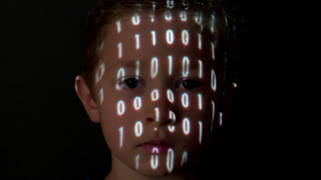 Binary data projection on a boy's face