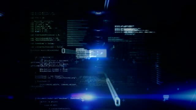 Binary digital interface moving towards camera against dark background
