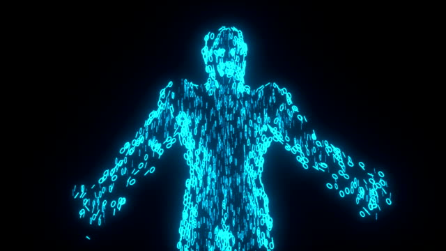 binary man with orb glowing data 0 1 blue - tron sci fi bildbanksvideor och videomaterial från bakom kulisserna