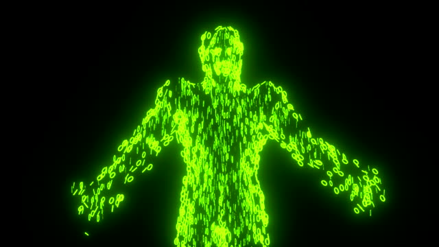 binary man with orb glowing data 0 1 green - tron sci fi bildbanksvideor och videomaterial från bakom kulisserna