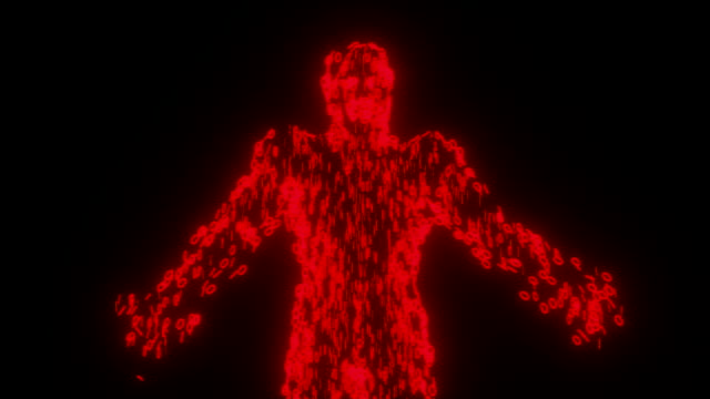 binary man with orb glowing data 0 1 red - tron sci fi bildbanksvideor och videomaterial från bakom kulisserna