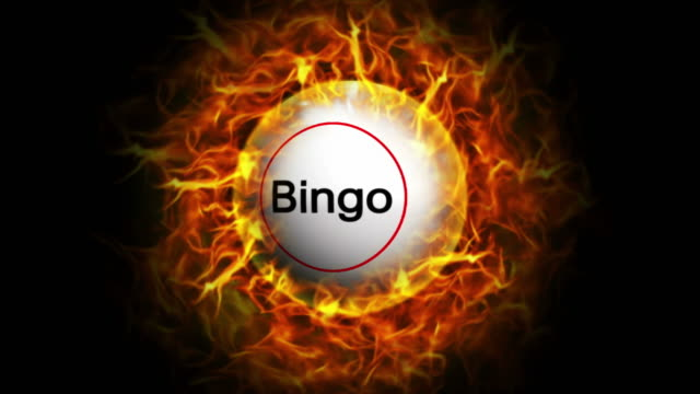 bingo ball and flames sfondo, loop - bingo video stock e b–roll