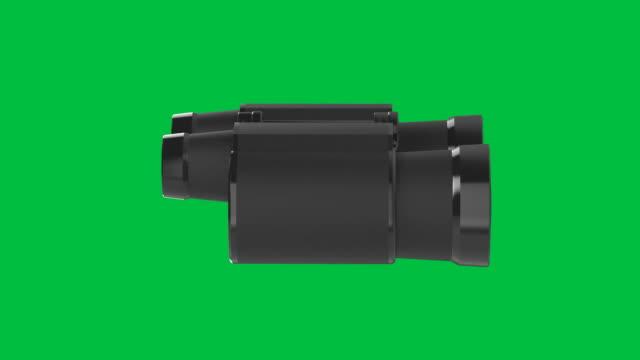binoculars spin on green screen